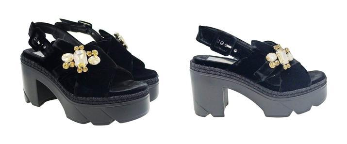 Sandalias de terciopelo negras Jeannot