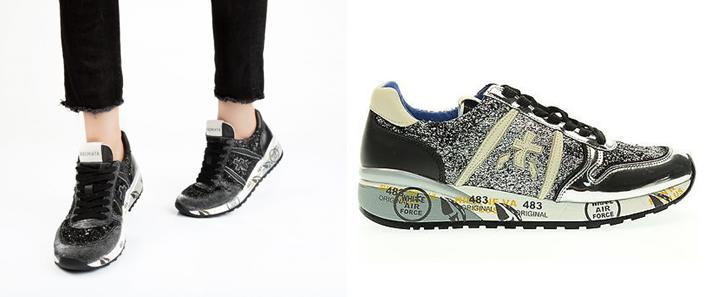 Sneakers Premiata y complementos de invierno de mujer