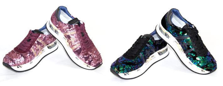Zapatillas casual de mujer lentejuelas Premiata