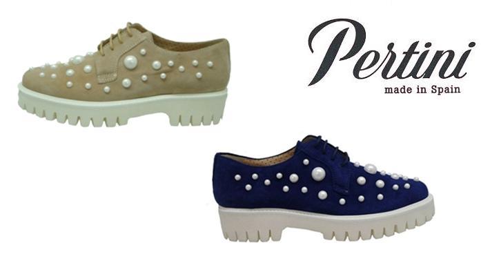 Zapatos con perlas bluchers Pertini