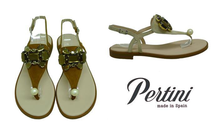 Zapatos con perlas sandalias planas Pertini