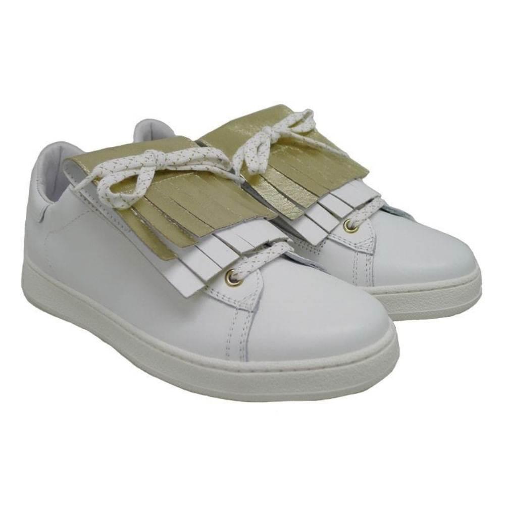 Sneakers piel lengüeta flecos dorada HS78E1