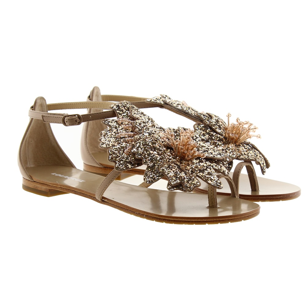 Sandalias vestir flores glitter Lola Cruz 034Z05BK