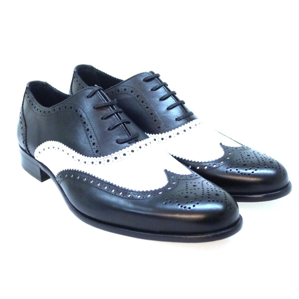 Zapato cordón blanco y negro Pertini 21787