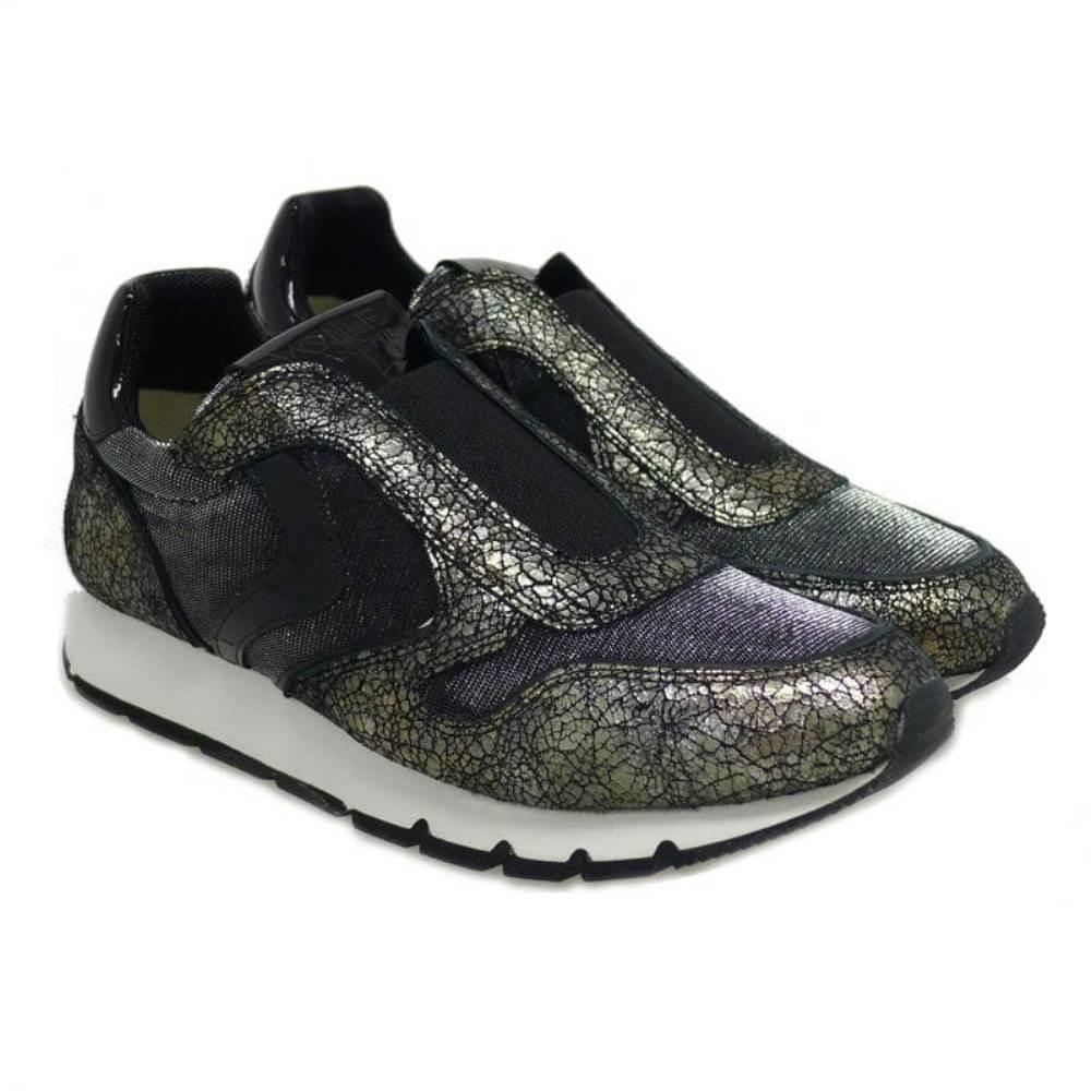 Sneakers con elástico Voile Blanche Julia Flex Negro-plata